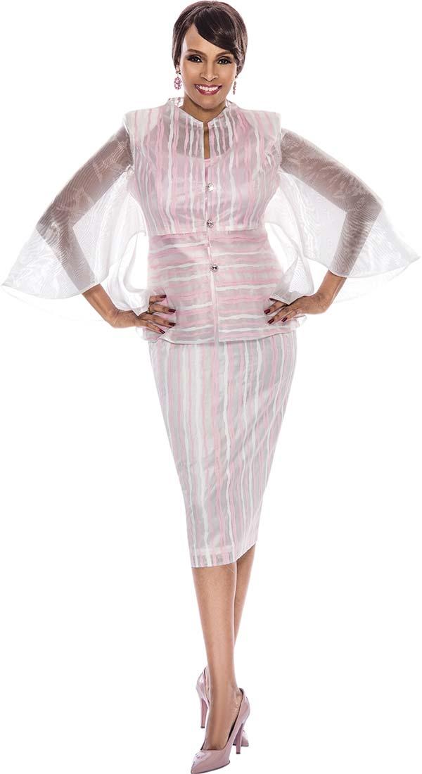 Terramina 7508 Three Piece Ladies Organza Flutter Sleeve Church Suit