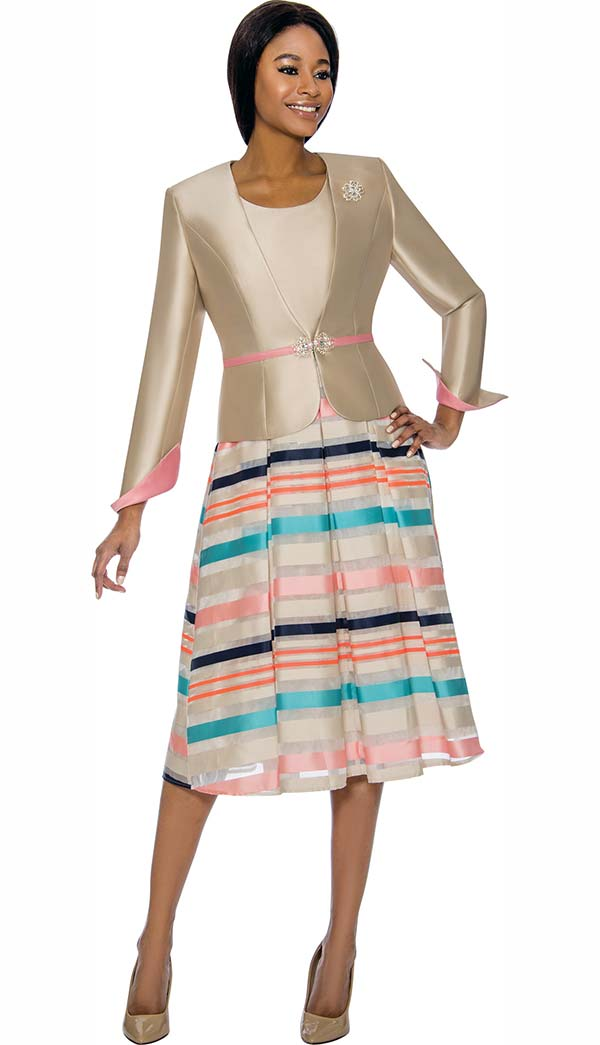Terramina 7733 - Striped Design Womens Dress Set With Rolled Cuff Sleeve Jacket