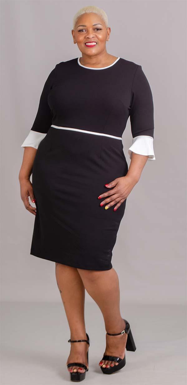 Allen Kay 785749A Flounce Cuff Sleeve Womens Two Tone Dress