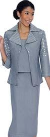 Ashro 69186 - Womens Denim Skirt Suit With Embellished Jacket