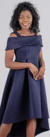For Her 8731-Navy Womens Off-Shoulder Style High-Low Dress