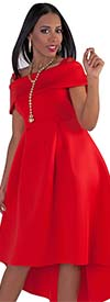 For Her 8731-Red Womens Off-Shoulder Style High-Low Dress