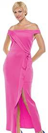 Moshita MD18007-Fuchsia - Womens Off-Shoulder Dress With Front Slit
