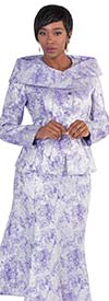 Tally Taylor 4569 - Two Piece Flared Skirt Suit With Brocade Style Fabric & Wrap Collar