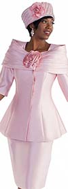 Tally Taylor 4584-Blush - Two Piece Skirt Suit With Off Shoulder Effect & Rose Flower Detail