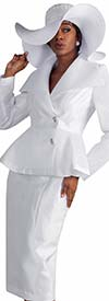 Tally Taylor 4595W-White - Two Piece Skirt Suit With Mesh Details On Peplum Jacket
