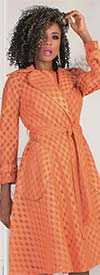 Tally Taylor 4638-Orange - Two Piece Dress Set With Belt In Polka Dot Lace Fabric