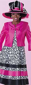 Tally Taylor 4575W - Two Tone Circle Print Dress Suit With Bow On Jacket
