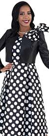 Tally Taylor 4637-Black / White - Two Piece Polka Dot Dress Suit With Bolero Style Jacket