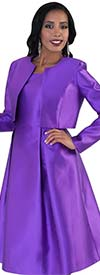 Tally Taylor 4637-Purple - Two Piece Dress Suit With Bolero Style Jacket