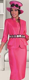 Tally Taylor 4617-Fuchsia / Black - Womens Skirt Outfit With Circular Lace & Pearl Detailing On Jacket