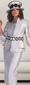 Tally Taylor 4617-Gray / Black - Womens Skirt Outfit With Circular Lace & Pearl Detailing On Jacket