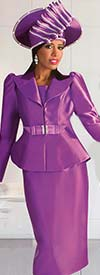 Tally Taylor 4624 - Leg Of Mutton Style Sleeve Peak Lapel Peplum Jacket & Skirt Set