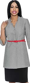 D.Vine DV1142 - Ladies Two Piece Star Neckline Skirt Suit In Herringbone Pattern