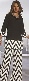 Donna 18062 Novelty Knit Tunic & Pants Set With Chevron Pattern Design