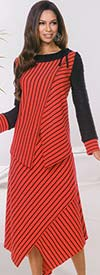 Donna 18088 Asymmetric Style Novelty Knit Tunic & Skirt Set In Angular Stripe Print