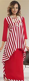 Donna 18103 Striped & Solid Novelty Knit Tunic & Skirt Set