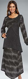 Donna 18140 Novelty Knitted Metallic Tunic & Skirt Set With Silver Bead Trim