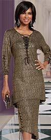 Donna 18153 Novelty Knitted Metallic Fabric Tunic & Skirt Suit With Laced Grommet Design