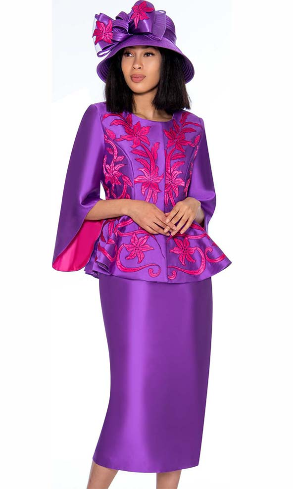 GMI G7172-Purple - Floral Design Skirt Suit With Wide Bell Sleeve Peplum Jacket