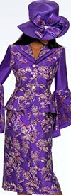 GMI G7372-Purple - Floral Print Skirt Suit With Wide Bell Sleeves