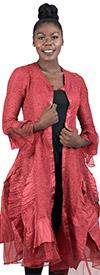 JerryT-SR113-Red - Womens Long Sleeve Sheer Ruffle Hem Duster Dress
