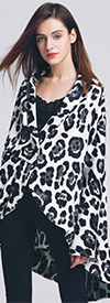 JerryT-SR7232-WhiteBlack - Womens High-Low Style Printed Chiffon Cardigan