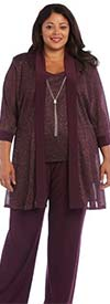 R&M Richards 1782W - Womens Mock Metallic Fabric Three Piece Pant Suit