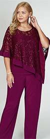 R&M Richards 2289 - Ladies Pant Suit With Lace Design Poncho Top