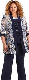 R&M Richards 7272W - Ladies Floral Puff Print Pant Suit