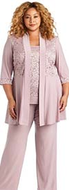 R&M Richards 7772W-Mauve - Womens Lace Accented Pant Suit With Long Jacket