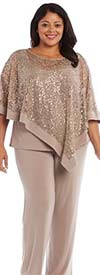R&M Richards 8998W - Womens Pant Suit With Mock Poncho Top And Tank