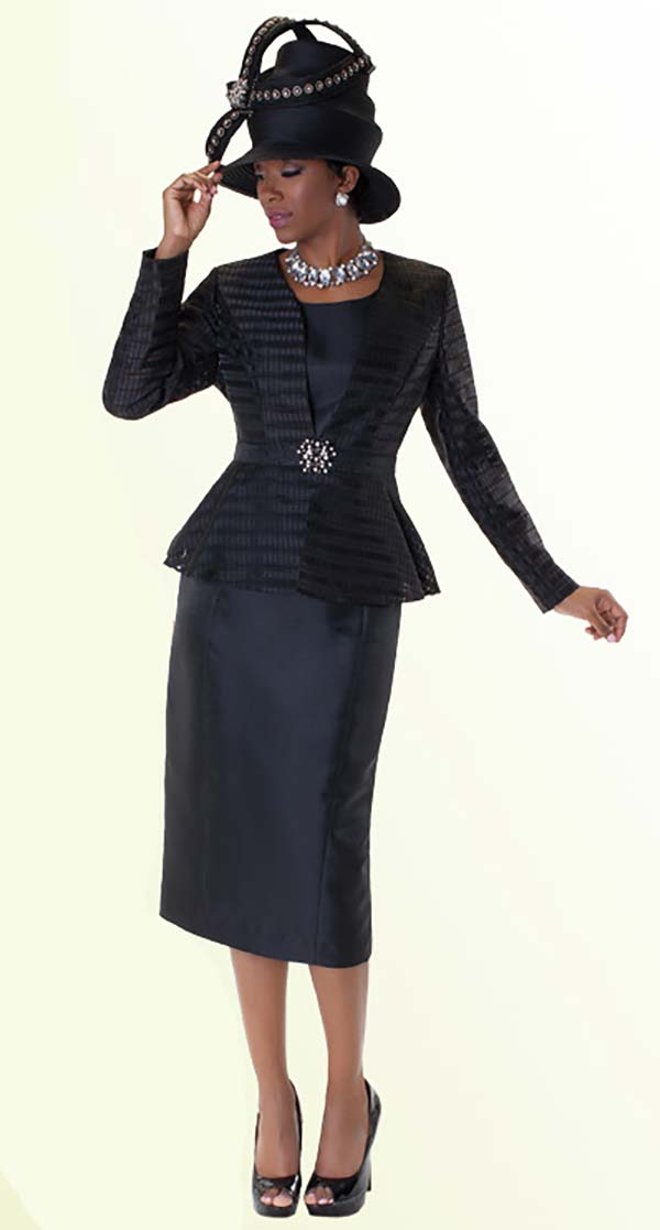 Tally Taylor 4545-Black Skirt Suit With Stripe Detail On Peplum Jacket