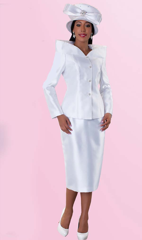 Tally Taylor 4548-White Two Piece High Collar Ladies Church Suit
