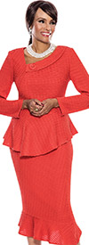 Terramina 7534 Tilted Flounce Hem Skirt With Peplum Jacket Church Suit In Textured Fabric