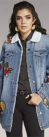 Tesoro Moda 20003 Fleece Lined Long Denim Jacket With Patch Style Details
