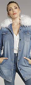 Tesoro Moda 20004 Faux Fur Collar Denim Jacket With Lining