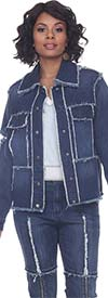 Tesoro Moda 20024JKT Womens Stretch Denim Jacket With Distressed Look Design And Ring Accents On Back