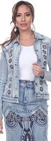 Tesoro Moda 20028JKT Womens Embellished Classic Jean Jacket In Stretch Denim Fabric