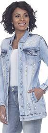 Tesoro Moda 20032JKT Ladies Stretch Denim Jacket With Zipper Sleeve And Pearl Embellishments