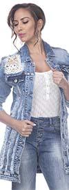 Tesoro Moda 20033JKT Ladies Stretch Denim & Lace Jacket In Distressed Look Design