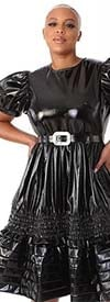 For Her 81820  Short Puff Sleeve Design Leather Belted Dress