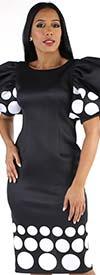 For Her 8785-Black/White Puff Sleeve Scuba Dress In Polka-Dot Print Design
