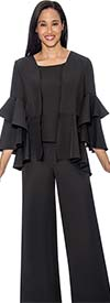 Rose Collection 1034-Black -  Three Piece Womens Pant Suit With Tiered Flounce Sleeve Jacket
