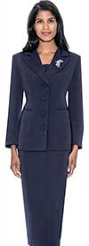 GMI G13382-Navy - Womens Notch Lapel Usher Suit With Brooch