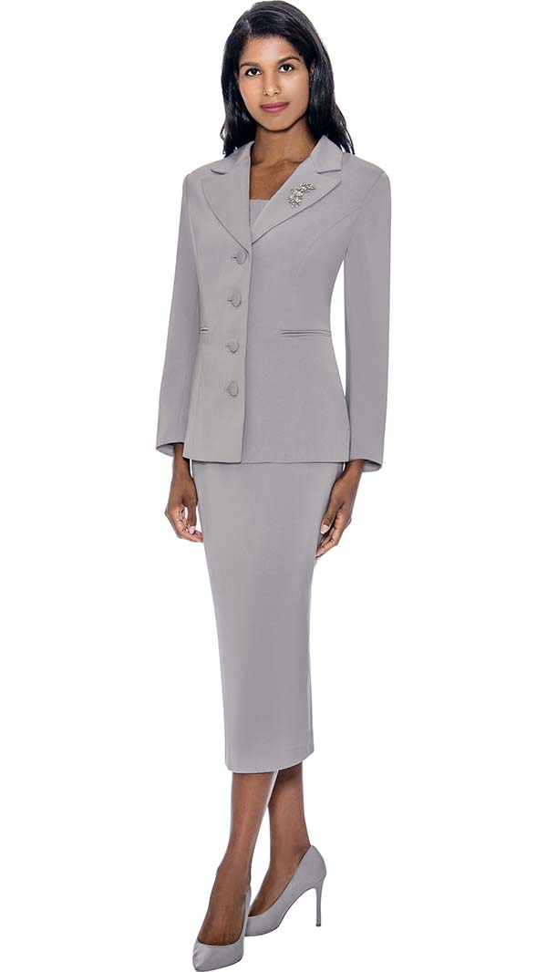 GMI G13382-Silver - Womens Notch Lapel Usher Suit With Brooch