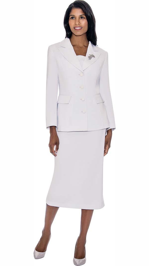 GMI G13382-White - Womens Notch Lapel Usher Suit With Brooch
