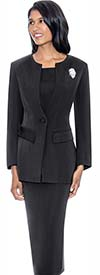 GMI G13393-Black - Womens Usher Suit With Brooch