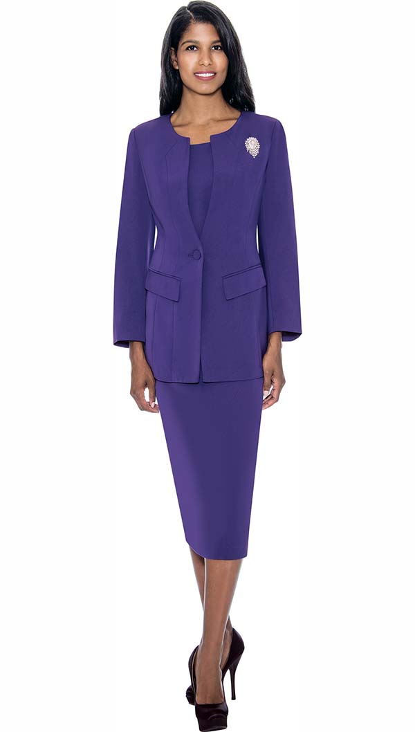 GMI G13393-Purple - Womens Usher Suit With Brooch