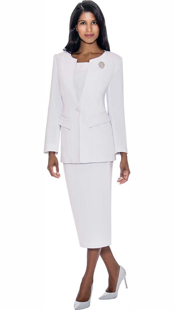 GMI G13393-White - Womens Usher Suit With Brooch